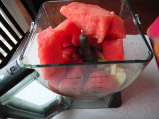 watermelon chunks, tomatoes and cucumber in blender
