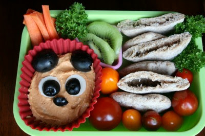 top view of Bento Love: Bearful Hummus Lunchbox