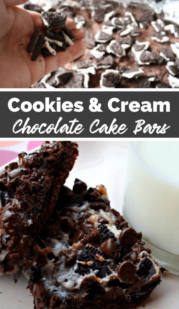 Cookies & Cream Chocolate Cake Bars collage picture of recipe