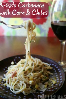 Pasta Carbonara with Corn & Chiles