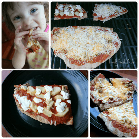 collage picture of 4 images of grilled whole wheat pizza