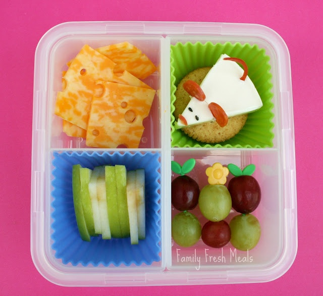 top down picture of The Cheese Stands alone themed bento lunch