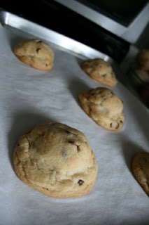 cooked Oreo Stuffed Chocolate Chip Cookies on a baking sheet