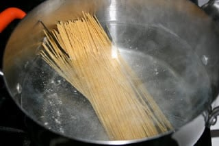 pasta in a pot of boiling water