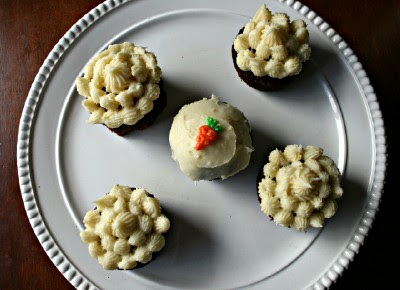 5 Carrot Cake Cupcakes on a white plate