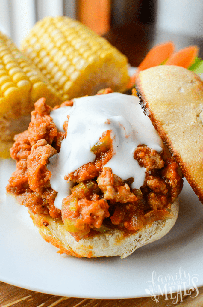 Buffalo Sloppy Joes - With vegetarian option - FamilyFreshMeals.com