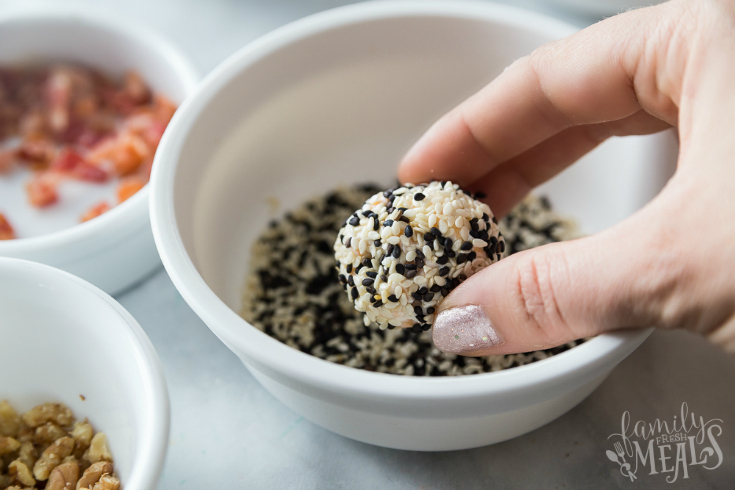 Mini Cheese Balls - dipped in sesame seeds