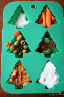 top down photo fo Muffin tin Meal in Christmas tree silicone muffin mold