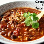 Crockpot Chicken Taco Soup (w/ vegetarian option)
