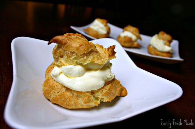 Easy Cream Puffs served on a white plate