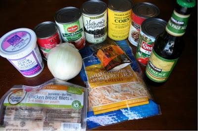 Crockpot Chicken Taco Soup - ingredients for soup