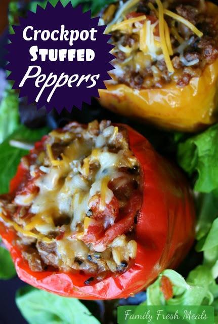 Crockpot Stuffed Bell Peppers via @familyfresh
