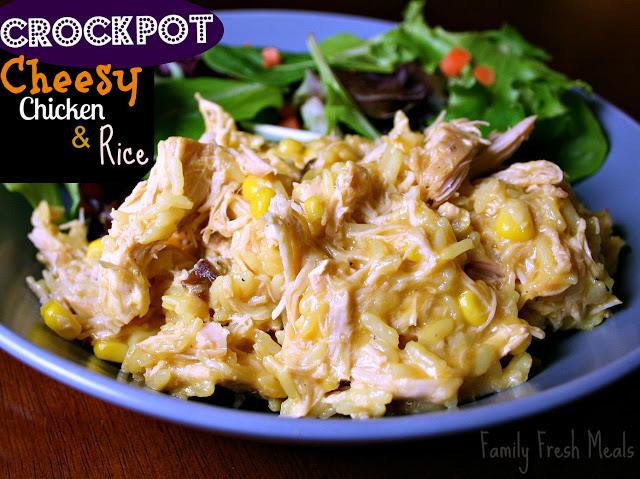 30 Easy Crockpot Recipes - Crockpot Cheesy Chicken & Rice