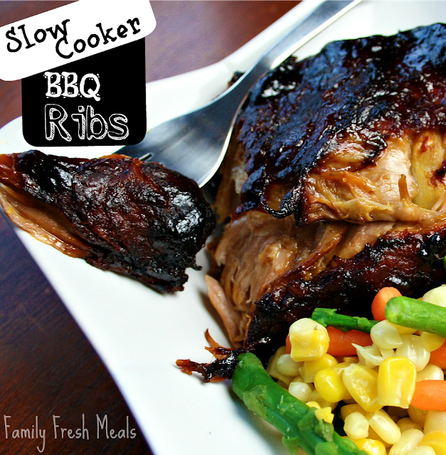 Slow Cooker BBQ Ribs Recipe from Family Fresh Meals