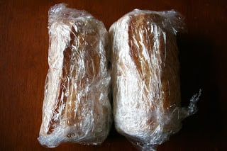 Stuffed Baguette Recipe - Baguettes wrapped in plastic wrap for the refrigerator