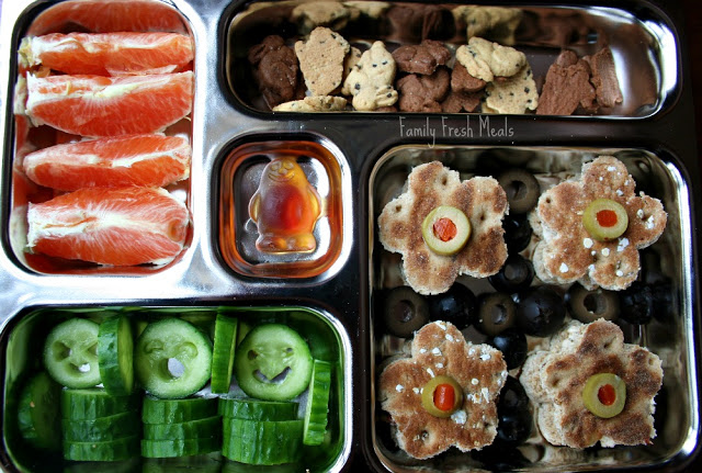top down photo of planet box filled with finger foods