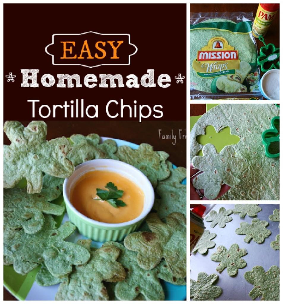 Homemade tortilla chips via FamilyFreshMeals.com