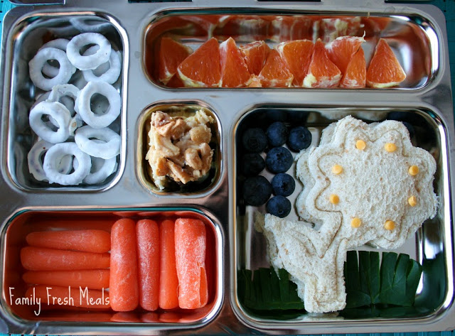 Top down image of spring themed lunch box packed in a planet box