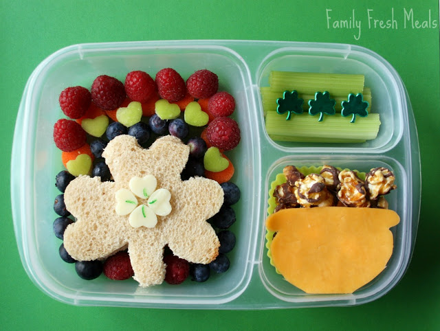 Top down image of St. Patrick's Day themed lunch box