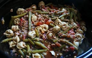 Crockpot Sausage Tortellini Stew in a slow cooker