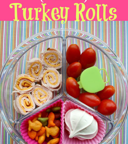 Top down image of Turkey Rolls & Tomatoes lunchbox idea