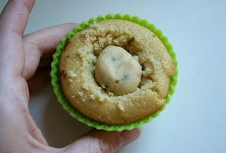 cookie dough ball in the center of the cupcake