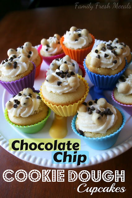 Chocolate Chip Cookie Dough Cupcakes on a serving platter