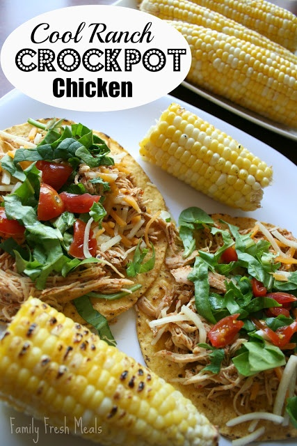 30 Easy Crockpot Recipes - Cool Ranch Crockpot Chicken Tacos or Tostadas