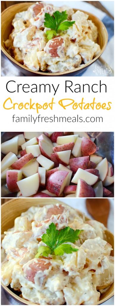 Creamy Ranch Crockpot Potatoes - FamilyFreshmeals.com - Pinterest