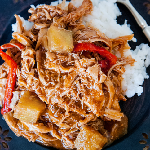 Hawaiian BBQ Bell Pepper Crockpot Chicken - FamilyFreshMeals.com -