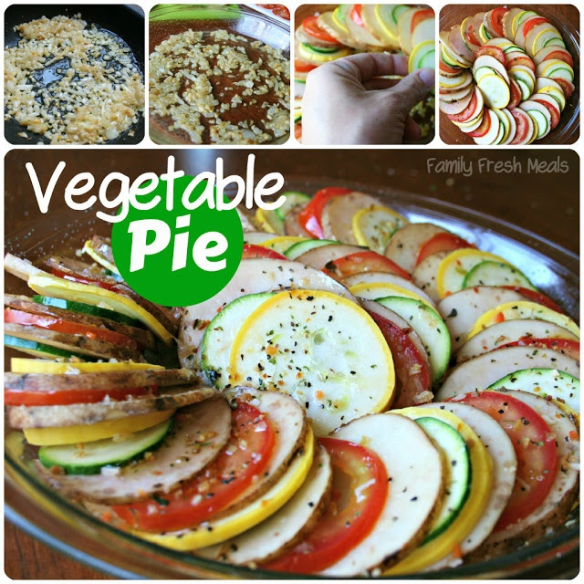 image showing the steps of how the Vegetable Pie is made