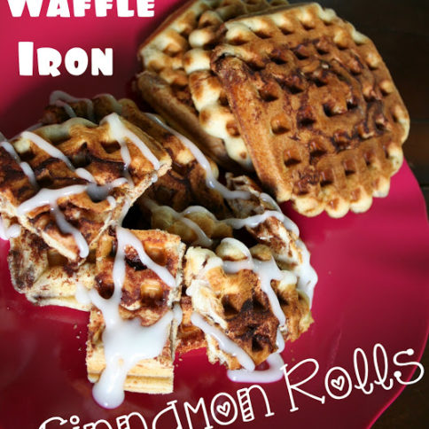 Cinnamon Roll Waffles served on a red plate