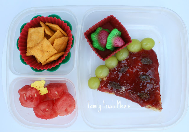 Top down image of watermelon themed lunchbox