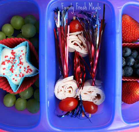Top down image of a 4th of July themed lunch