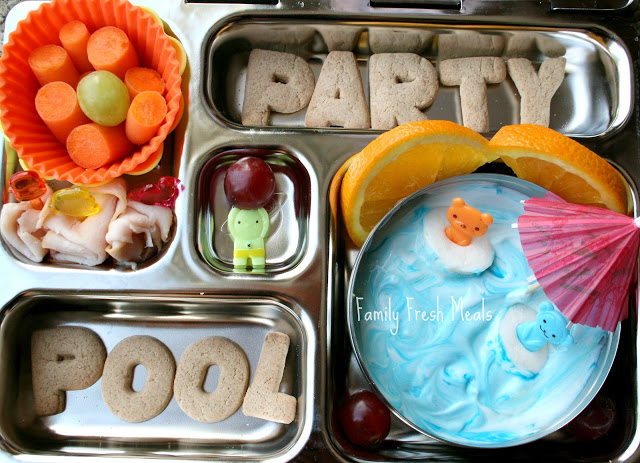 top down image of pool party themed lunchbox