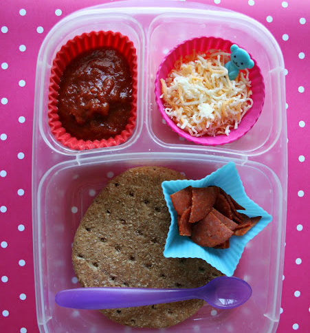 Top down image of a DIY Pizza lunchable