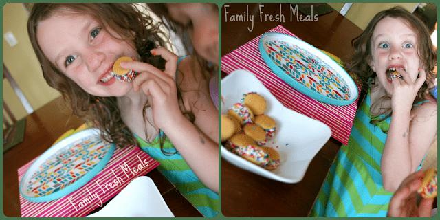 2 images of a child eating and enjoying BaNilla Bites