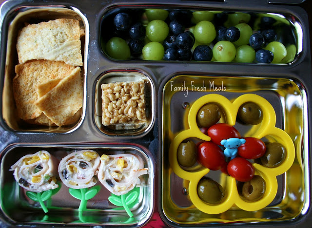 top down image of flower themed lunch box