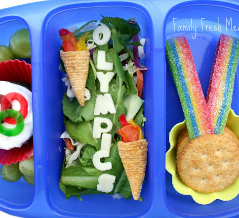 Top down image of Olympic themed lunchbox