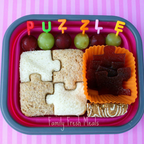 Top down image of puzzle themed lunchbox