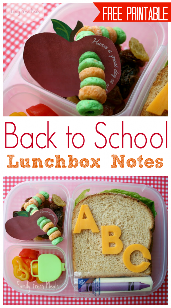 Back to school lunchbox Notes - FamilyFreshMeals.com