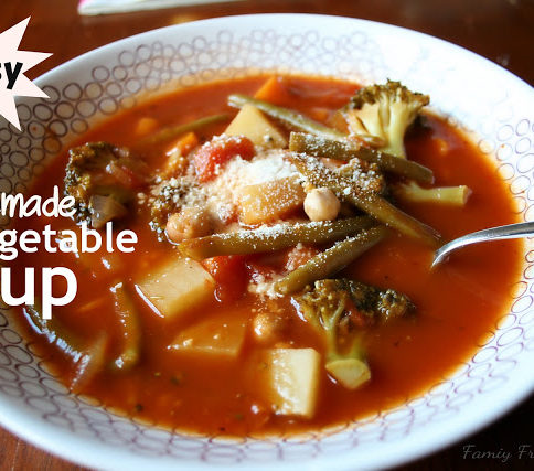 Easy Homemade Vegetable Soup served in a white bowl