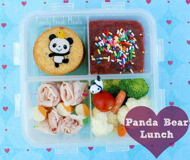 Top down image of Panda Bear themed Lunch