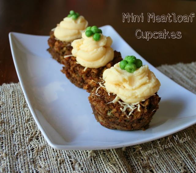 3 Mini Meatloaf Cupcakes served on a white plate