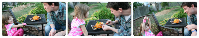 3 images together of a man and child eating The Perfect Fall Cheese Ball