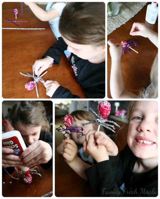 Collage picture showing 2 children making the sucker craft with lollypops, pipe cleaners and google eyes