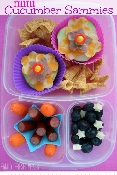 top down image of lunchbox with breadless cucumber sandwiches, mini sausages, chips, blueberries and carrots