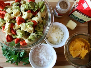 ingredients for recipe in bowls, and on cutting board