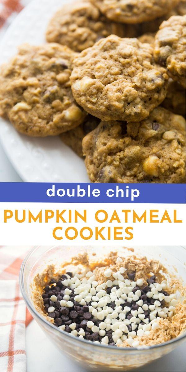Double Chip Pumpkin Oatmeal Cookies recipe from Family Fresh Meals via @familyfresh
