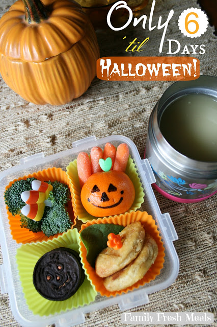 top down image of a halloween themed lunchbox